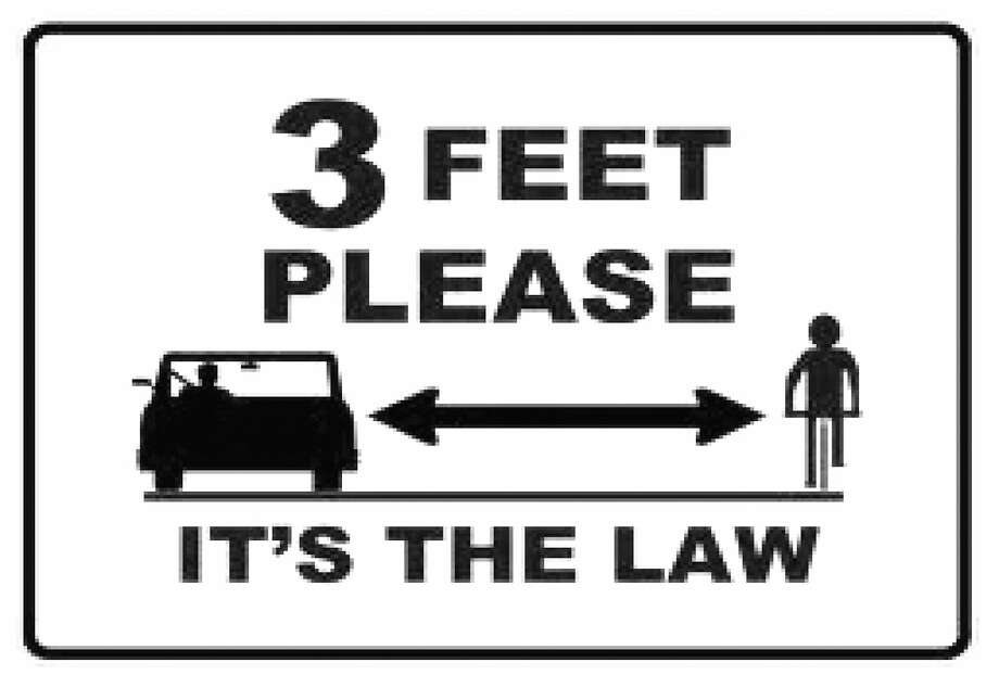 Greenwich Safe Cycling is promoting this message as a road sign to the town of Greenwich - to direct motorists to pass a cyclist only when there is at least three feet of clearance. Photo: Contributed Photo