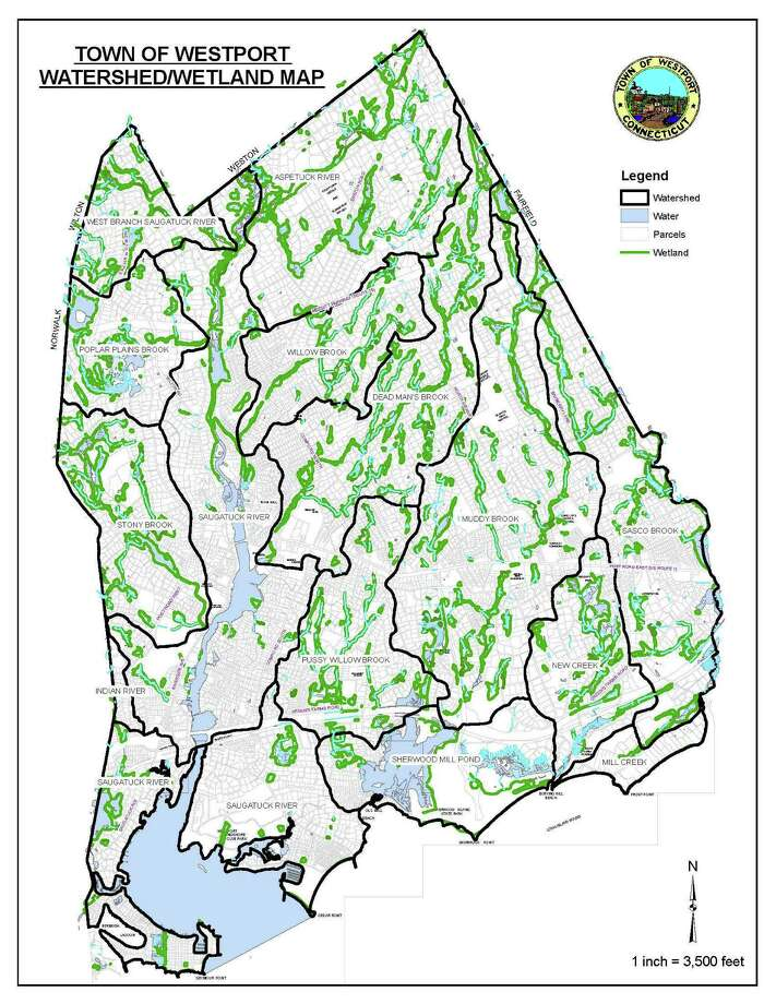 A view of Westport's watershed/wetland map. The town's Conservation Department is set to enact on July 1 a new set of regulations governing building project applications on properties on or near wetlands and/or watercourses. Photo: Contributed Photo / Westport News contributed