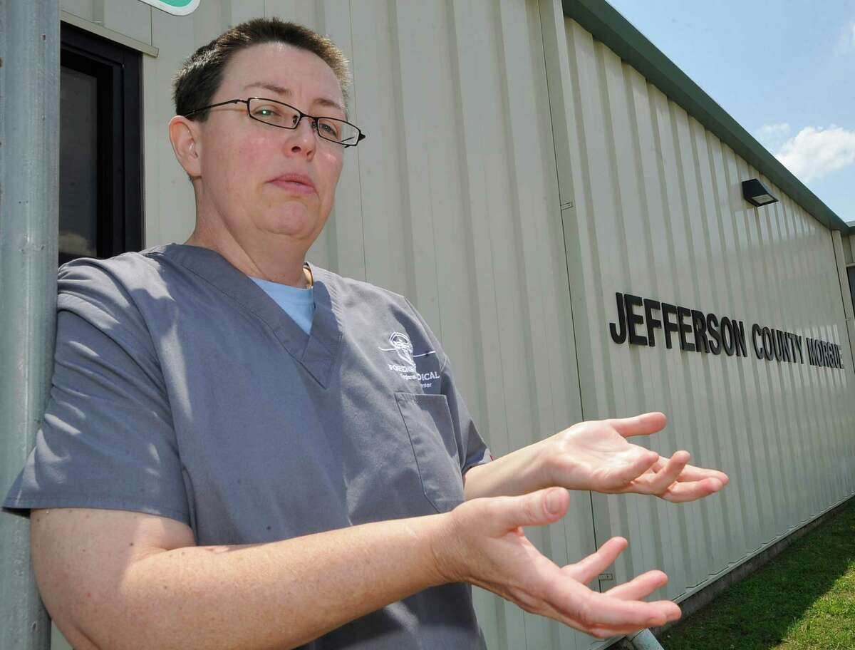 A new company came in and took over operations of the Jefferson County morgue facility next to the Jefferson County jail, that was overseen by Dr. Tommy Brown for many years. Now, the new forensic pathologist is Dr. Lisa Funte who arrived in March 2012. She talks about her history and her job outside the morgue building Wednesday May 16, 2012. Dave Ryan/The Enterprise