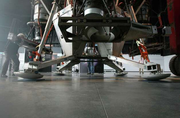 Charon, a vehicle that commercial spaceflight company Blue Origin used to test vertical takeoff and landing, lands in the Seattle Museum of Flight's Space Gallery on Tuesday, May 23, 2012. Photo: Aubrey Cohen/seattlepi.com
