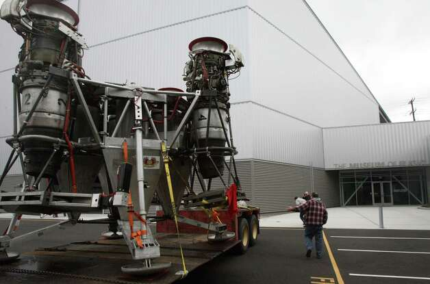 Charon, a vehicle that commercial spaceflight company Blue Origin used to test vertical takeoff and landing, arrives at Seattle's Museum of Flight on long-term loan on Tuesday, May 23, 2012. Photo: Aubrey Cohen/seattlepi.com