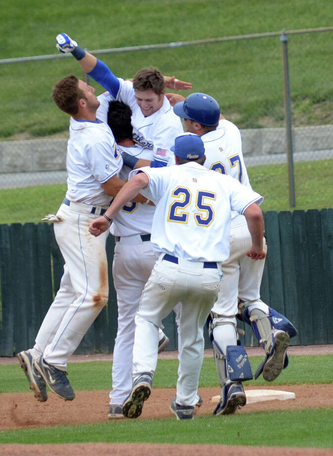 St. Mary's Billy Richard has been known for late-game heroics and the ensuing celebrations, including a game-winning single to beat St. Edward's recently.   Courtesy photo / St. Mary's University Photo: Courtesy Photo
