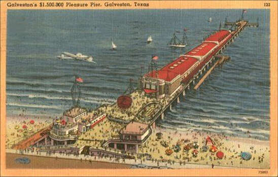 Postcard of Galveston's original Pleasure Pier, which opened in 1943 and featured rides, arcades, an aquarium and a fishing pier. Courtesy of the Rosenberg Library, Galveston Photo: Rosenberg Library Galveston / handout
