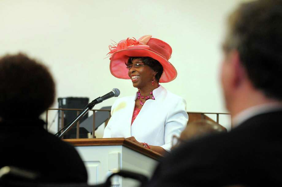 Anne Pope, regional director of the NAACP, speaks during the funeral service for Nebraska Brace on Wednesday, May 23, 2012, at Metropolitan New Testament Missionary Baptist Church in Albany, N.Y. (Cindy Schultz / Times Union) Photo: Cindy Schultz / 00017770A