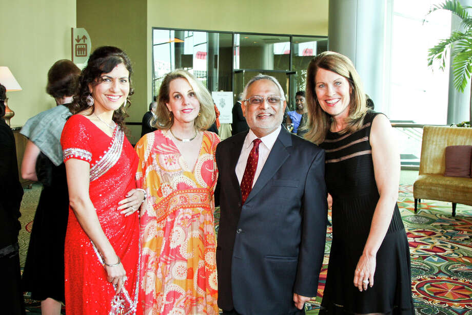 Co-chairs Jasmeeta Singh, from left, and Carrin Patman with honoree Shahzad Bashir and co-chair Ann Friedman at Interfaith Ministries' fourth annual Tapestry Gala on May 3 at the Hilton Americas Houston. Photo: Kim Coffman