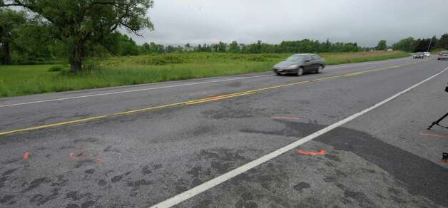 The scene of a fatal accident in Halfmoon, N.Y. looking east on Route 146 is under investigation by law enforcement May 23, 2012.   (Skip Dickstein / Times Union) Photo: SKIP DICKSTEIN