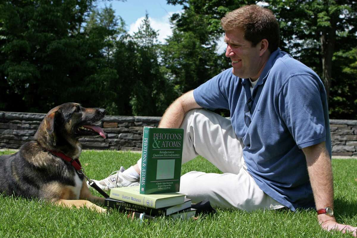 Union College physics Professor Chad Orzel spends time with Emmy. (Courtesy Chad Orzel)