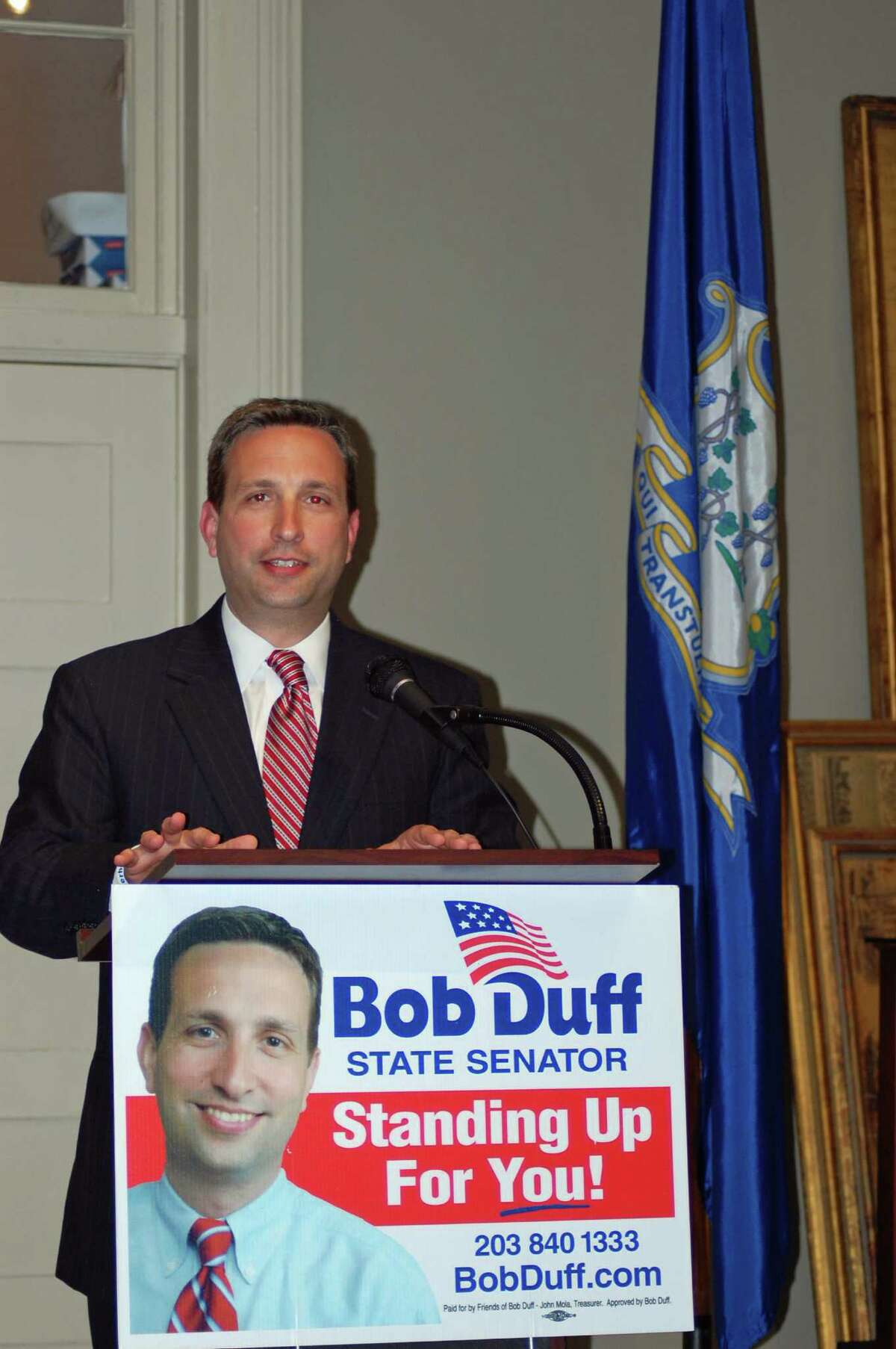 State Sen. Bob Duff (D-Norwalk, Darien) announces his bid for re-election Monday evening at the Mill Hill Historic Complex in Norwalk. He is running for his fifth term.