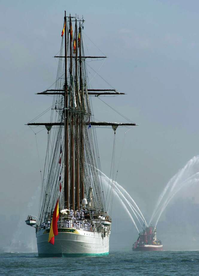 The tall ship from Spain, Elcano, is saluted by the fire boat as she sails up the Hudson River May 23, 2012 in New York.  The tall ship is participating in Fleet Week events in New York. Photo: DON EMMERT, AFP/Getty Images / AFP