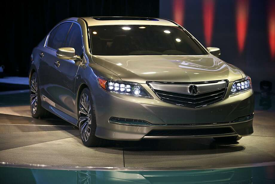 The Acura RLX concept car on display at the New York International Auto Show in the Javits Convention Center, in New York, April 4, 2012. The trial-balloon version of the RLX will replace Acura's top offering, the RL luxury sedan. (Benjamin Norman/The New York Times) Photo: Benjamin Norman, New York Times
