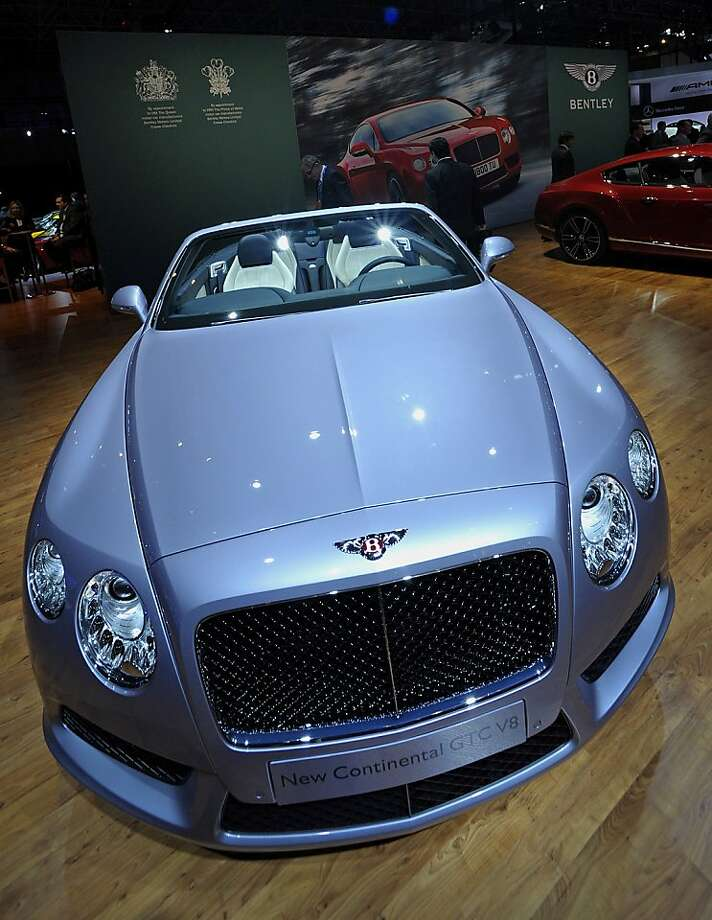 The 2013 Bentley Continental GT V8 convertible vehicle is displayed at the New York International Auto Show in New York, U.S., on Wednesday, April 4, 2012. The 2012 New York Auto Show is open to the public April 6-15. Photographer: Peter Foley/Bloomberg Photo: Peter Foley, Bloomberg