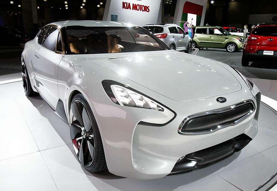 The Kia GT concept vehicle is displayed at the New York International Auto Show, in New York's Javits Center,  Thursday, April 5, 2012. (AP Photo/Richard Drew) Photo: Richard Drew, Associated Press