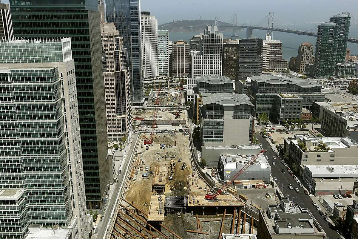 Nearly three blocks of construction continues on the Transbay Transit Center South of Market St. in San Francisco, Ca., on Thursday May 17, 2012.