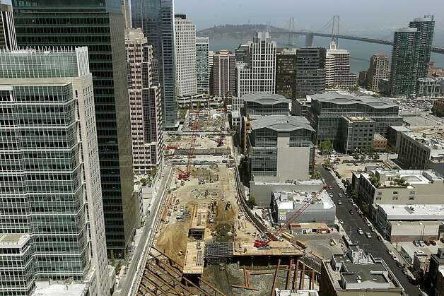 Nearly three blocks of construction continues on the Transbay Transit Center South of Market St. in San Francisco, Ca., on Thursday May 17, 2012. Photo: Michael Macor, The Chronicle
