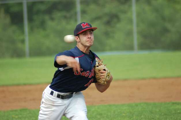 Brien McMahon right-hander Bryan Daniello pitches in the Senators' 4-1 win over Wilton in the FCIAC baseball quarterfinals on Wednesday May 23, 2012 in Norwalk. Photo: Doug Bonjour