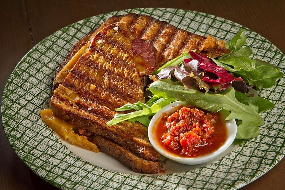 The Wisconsin Cheddar with Tasso Ham grilled cheese sandwich at Epicurean Connection in Sonoma, Calif.,  is seen on Wednesday, May 16th, 2012. Photo: John Storey, Special To The Chronicle