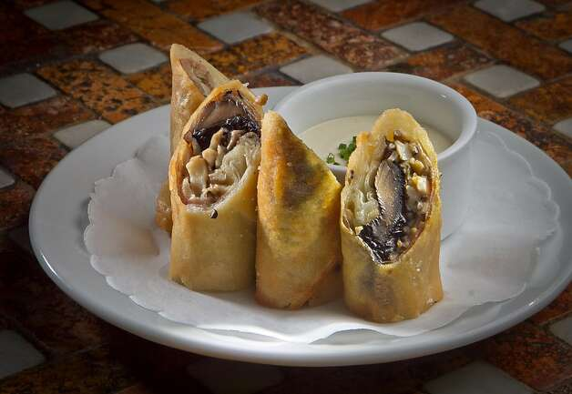 "The Mushroom ""Wellington"" Spring Rolls at Goose & Gander Restaurant in St. Helena, Calif., is seen on Wednesday, May 16th, 2012. Photo: John Storey"