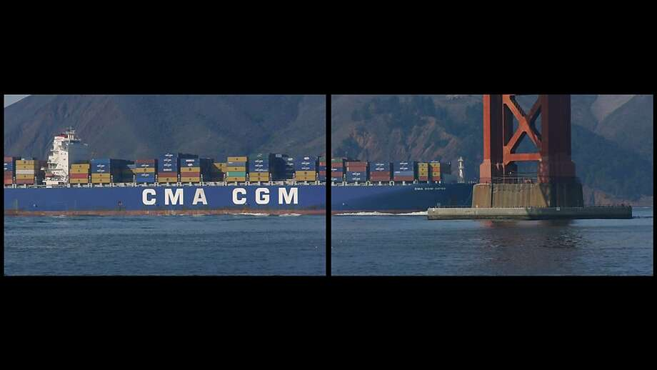 Doug Hall's projections of container ships passing beneath  the Golden Gate Bridge are part of the International Orange  installation opening this weekend. Photo: Doug Hall
