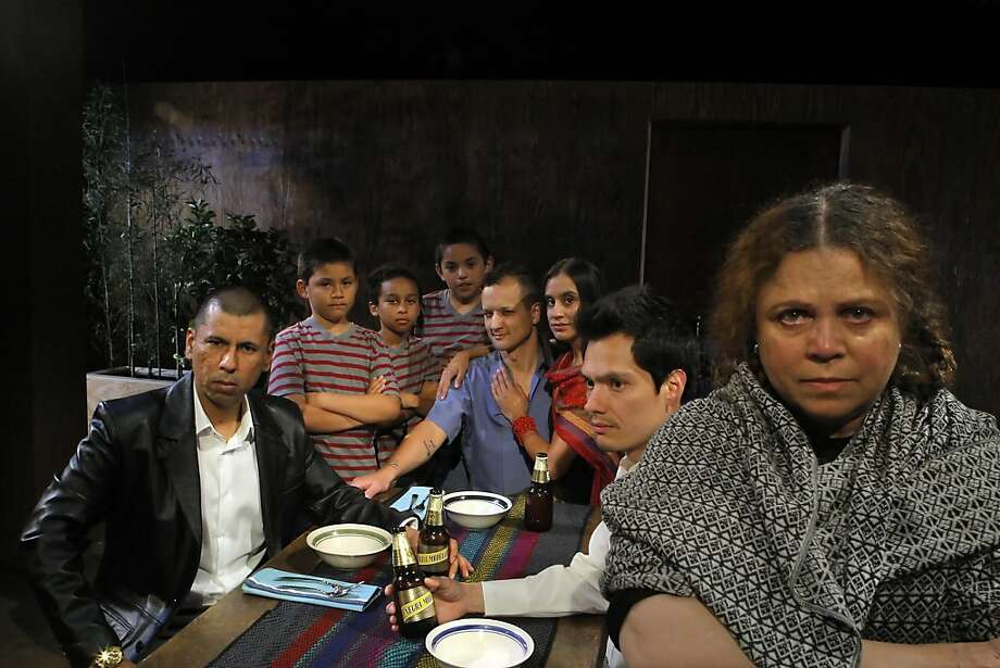 "The cast of the new play ""Bruja"" by the play writer Luis Alfaro poses for a picture at a rehearsal on May 22, 2012 in San Francisco, Calif.  Left to right, Carlos Aguirre, Mason Kreis, Gavilan Gordon-Chavez, Daniel Antonio Vigil, Sean San Jose, Sabina Zuniga Varela, Armando Rodriguez and Wilma Bonet. Photo: Siana Hristova, The Chronicle"