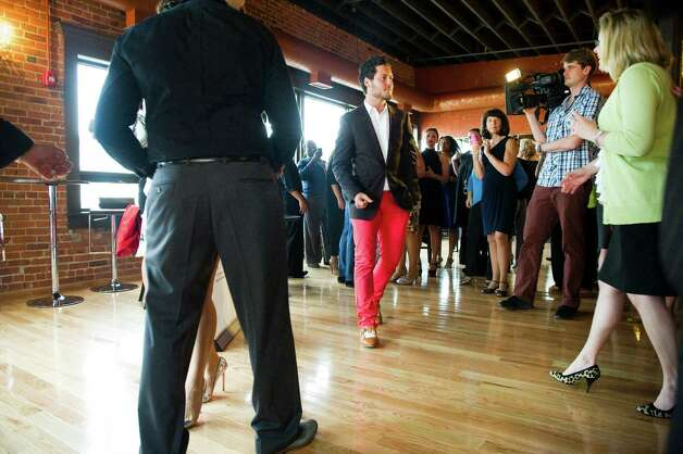 "Val Chmerkovskiy, a dancer on ABC's reality competition ""Dancing With the Stars,"" on hand during the opening of Dance With Me Stamford on Summer Street in Stamford, Conn., May 23, 2012. Photo: Keelin Daly / Stamford Advocate"