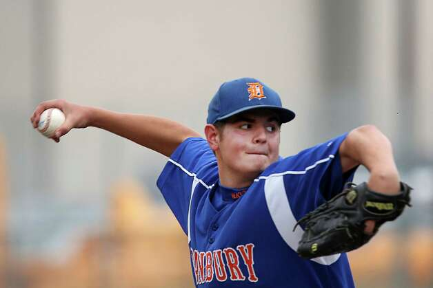 Danbury High School pitcher Kevin Williams goes into his wind up in the FCIAC baseball quarterfinal game against Greenwich High School on Wednesday May 23, 2012. Greenwich won the game with a score of 6-5. Photo: Mike Ross / Greenwich Time freelance