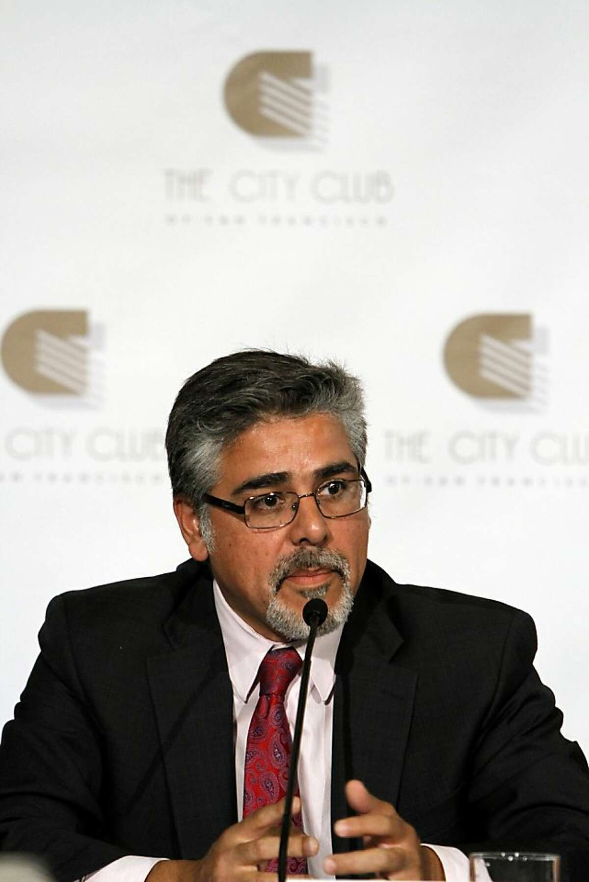 Mayoral candidate John Avalos answers a question during the mayoral debate at the City Club in San Francisco, Calif., Monday, October 10, 2011.