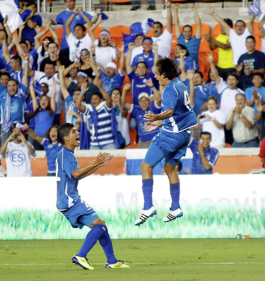 Rafael Edgardo Burgos, of El Salvador, jumps for joy after scoring a goal in the first half of an international friendly game against Ne Zealand, Wednesday, May 23, 2012, in BBVA Compass Stadium in Houston. Photo: Nick De La Torre, Houston Chronicle / © 2012  Houston Chronicle