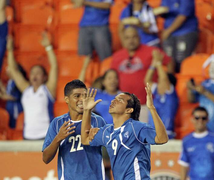 Rafael Edgardo Burgos (9), of El Salvador, looks to the sky after scoring a goal in the thirteenth m