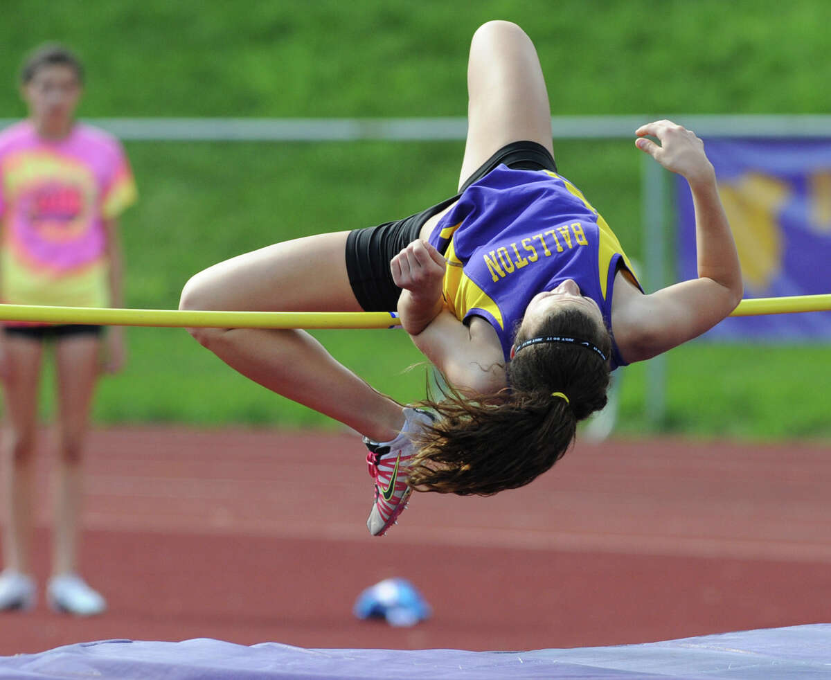 """Ballston Spa sophomore Anna Rovetto, 15, attempts a 4' 3"""" high jump during the Section II girls track meet Wednesday, May 23, 2012 in Johnstown, N.Y. (Lori Van Buren / Times Union)"""