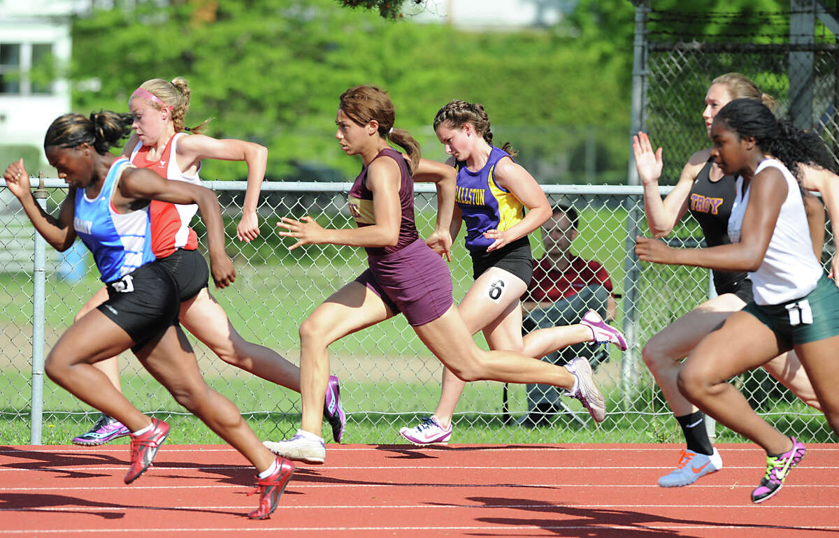 Runners take off in the 100 meter dash during the Section II girls track meet Wednesday, May 23, 2012 in Johnstown, N.Y. (Lori Van Buren / Times Union)