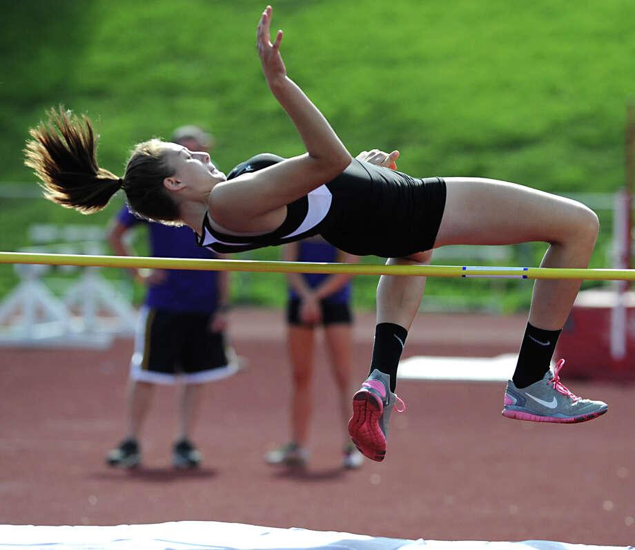 "Troy junior Krystyn Knockwood, 16, attempts a 4' 6"" high jump during the Section II girls track meet Wednesday, May 23, 2012 in Johnstown, N.Y. (Lori Van Buren / Times Union) Photo: Lori Van Buren"