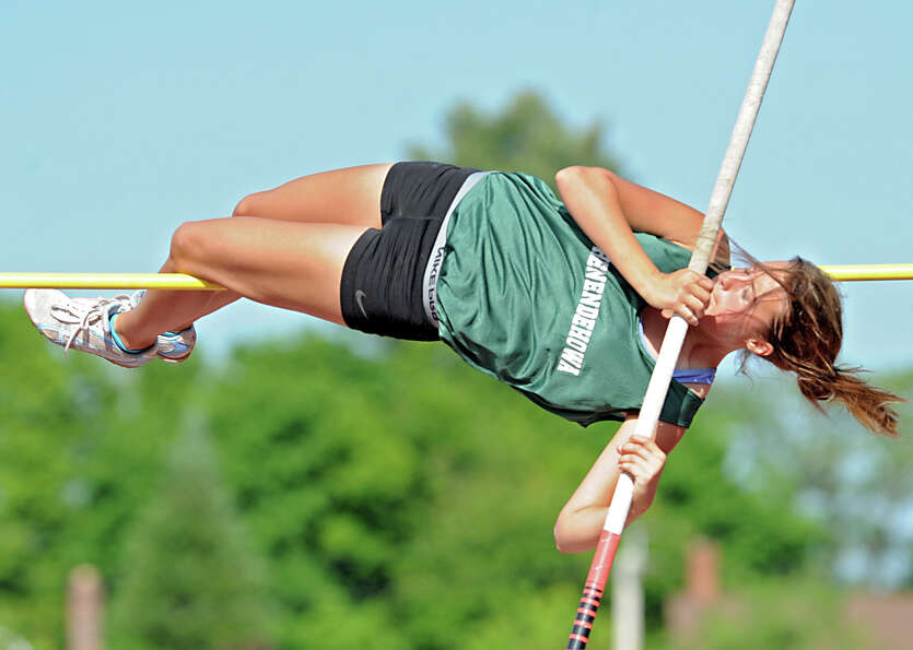 Shenendehowa senior Amanda Walkowicz, 18, attempts the 9' high bar in the pole vault during the Sect