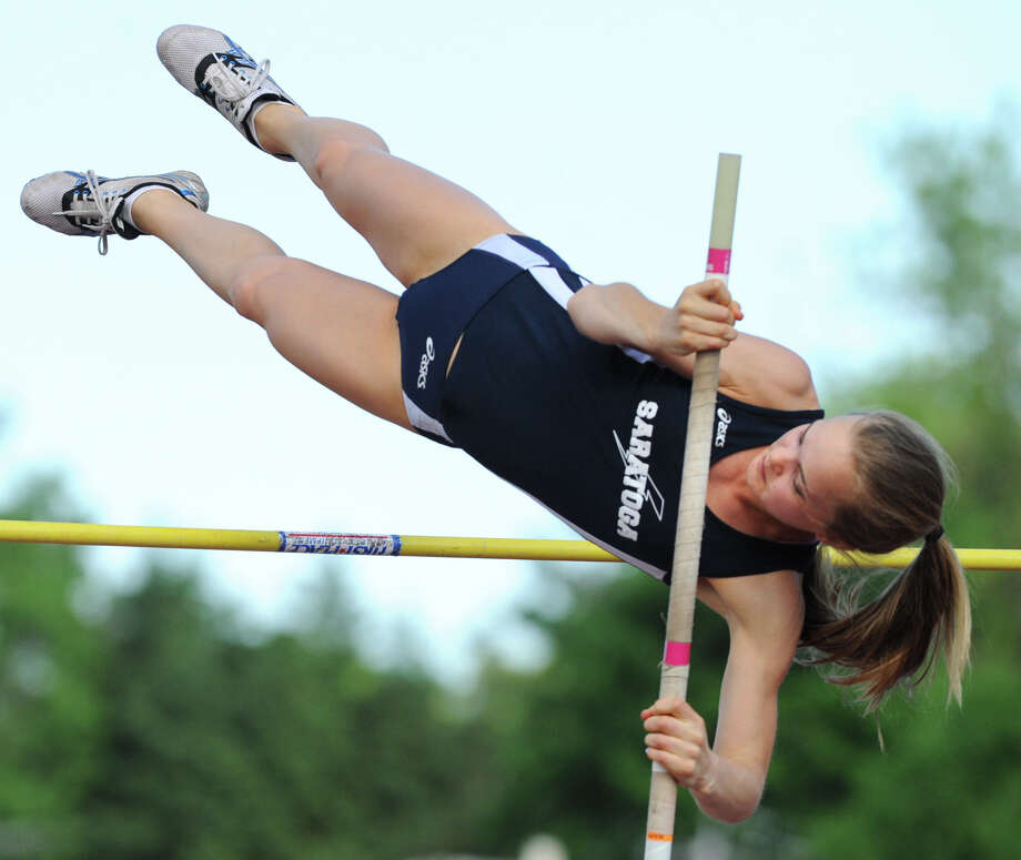 "Saratoga sophomore Marlaina Murphy attempts the 9' 6"" high bar in the pole vault during the Section II girls track meet Wednesday, May 23, 2012 in Johnstown, N.Y. (Lori Van Buren / Times Union) Photo: Lori Van Buren"