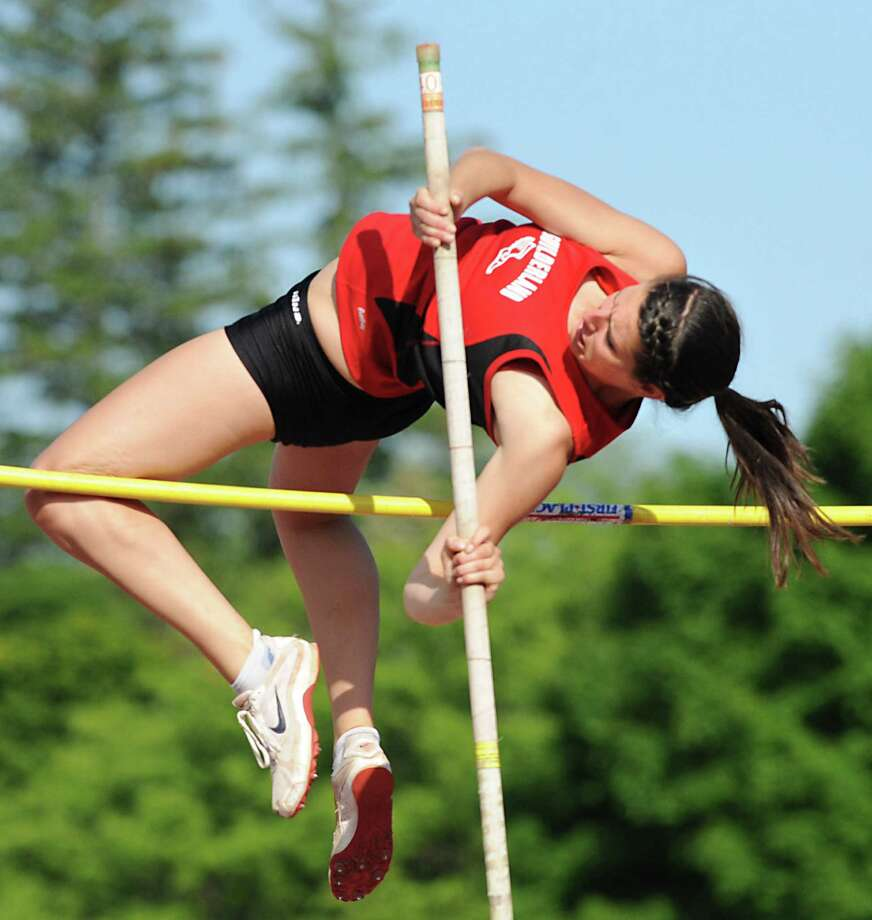 "Guilderland senior Alicia Switser, 18, attempts the 9' 6""high bar in the pole vault during the Section II girls track meet Wednesday, May 23, 2012 in Johnstown, N.Y. (Lori Van Buren / Times Union) Photo: Lori Van Buren"