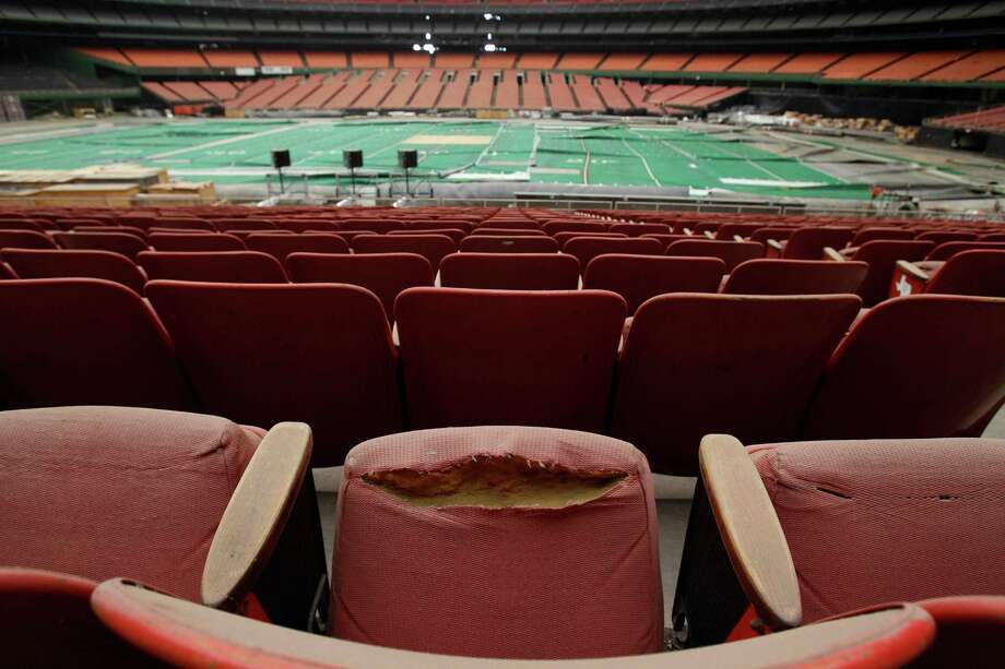 Rows of dirty, tattered seats ring the Astrodome Monday, May 21, 2012, in Houston. Once touted as the Eighth Wonder of the World, the nation's first domed stadium sits quietly gathering dust and items for storage. Photo: Pat Sullivan, Associated Press