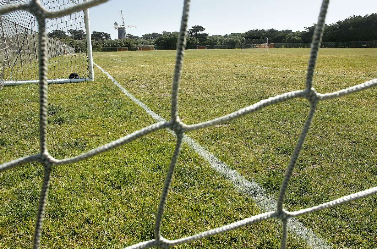 The Beach Chalet Soccer Fields at the Western end of Golden Gate Park, on Wednesday May 23, 2012, in San Francisco. The city has plans to redo the soccer fields with artificial turf and install lights to allow the fields to be used by more teams. Neighbors and environmentalists are opposed to the idea.