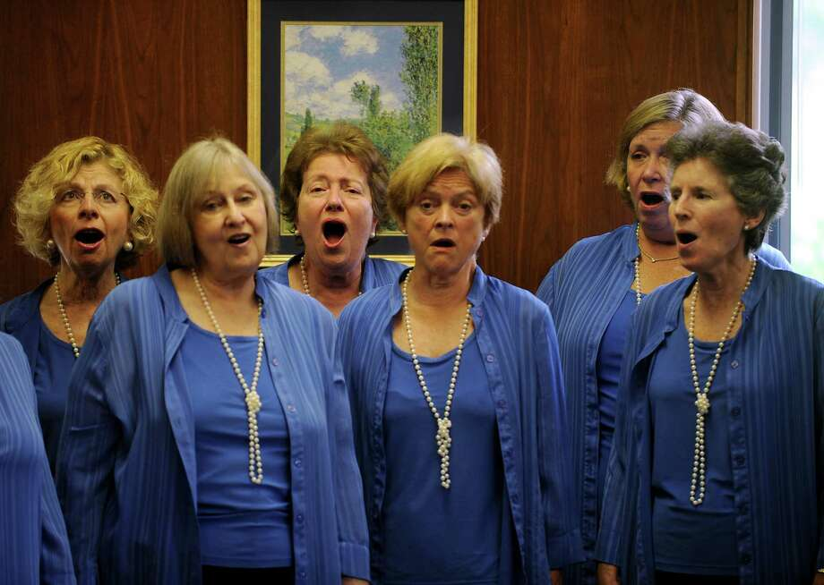 Peggi dela Cruz  of Stamford, Mitzi Goldberg of Trumbull, Pam Gilmor of Norwalk, Helen Geogerian of Darien, Ruth Morgan of New Canaan, Molly Larson of Norwalk and Martha van Nierop of Darien, members of The Park Street Singers, delivered their three-part harmonies to guests at the Greenwich Senior Center in Greenwich, Conn. on Wednesday, May 23, 2012. The group, composed of women from several Fairfield County towns, performed a selection of tunes from Broadway shows of the 60's. Photo: Cathy Zuraw / Greenwich Time