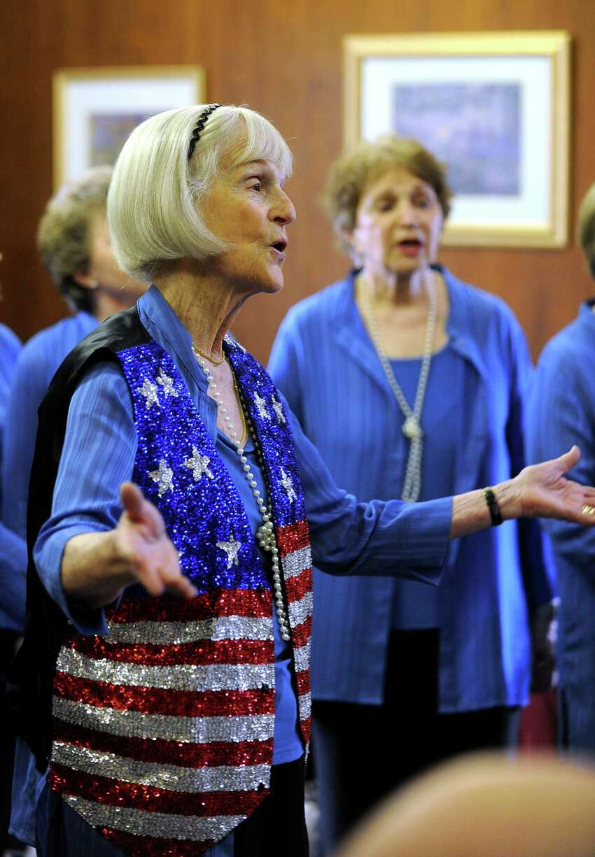 Lynn Weiner of Stamford, a member of the Park Street Singers, closed the show with a patriotic number. The group composed of women from several Fairfield County towns performed at the Greenwich Senior Center in Greenwich, Conn. on Wednesday, May 23, 2012.