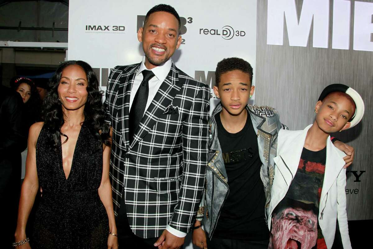 In this Wednesday, May 23, 2012 photo released by Starpix,from left, Jada Pinkett-Smith, her husband Will Smith, and their kids Jaden Smith and Willow pose at the premiere of
