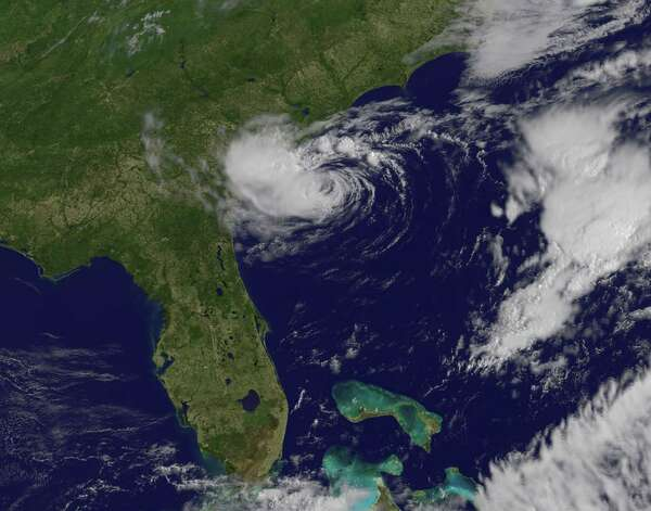 TROPICAL STORM ALBERTO: This May 20, 2012, satellite image shows Alberto, the first tropical storm of the 2012 season off the southeastern U.S. coast. No deaths or damage were reported.  Photo: NOAA, AFP/Getty Images / AFP