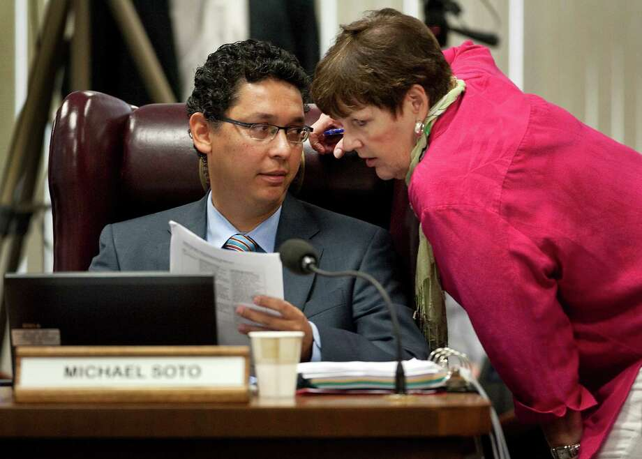 State Board of Education members Patricia Hardy and Michael Soto confer last summer. All 15 seats on the board are up for grabs this year. Photo: File Photo, Associated Press