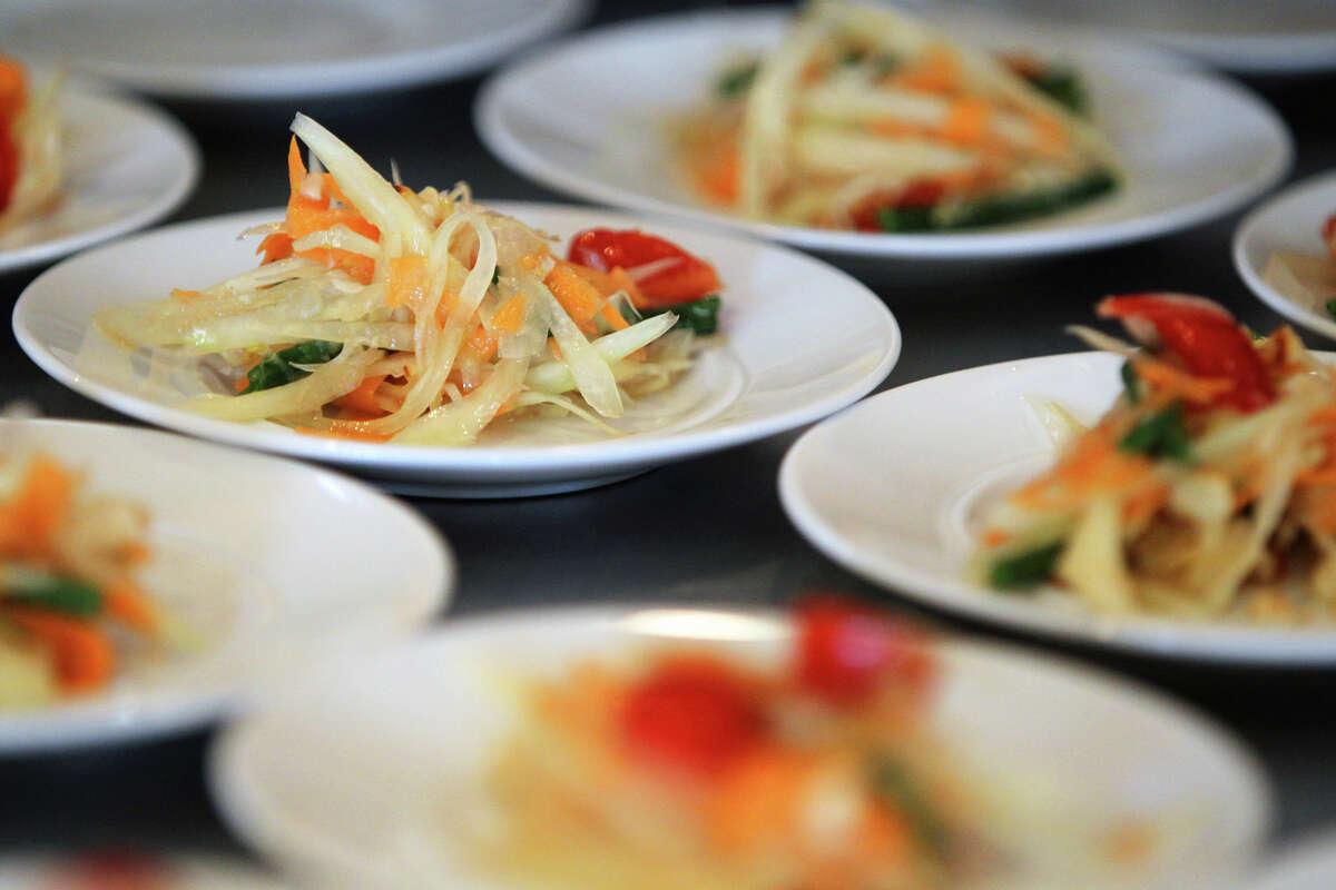 "Papaya salad during Chef McDang's ""Principles of Thai Cookery"" class at Sustenio, Saturday, May 19, 2012. (JENNIFER WHITNEY)"