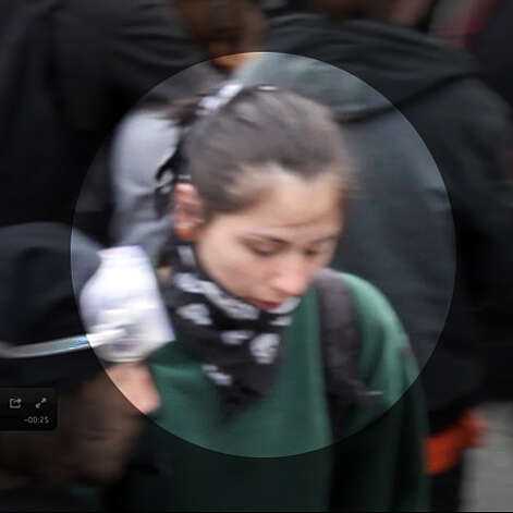 This woman is suspected of throwing a bottle or book at officers, striking one in the head. Photo: Seattle Police Department