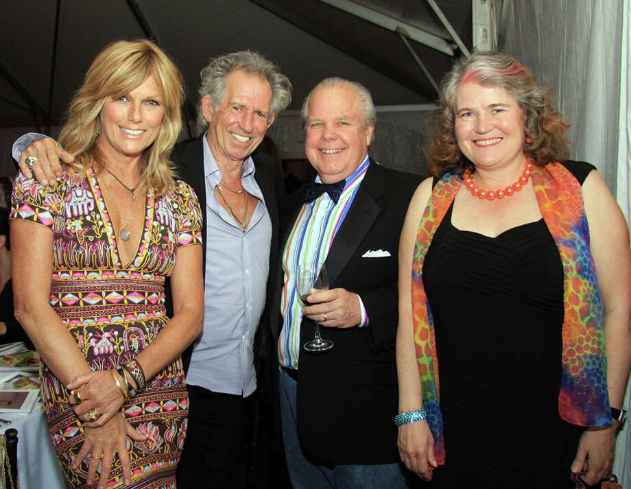 Honorary co-chairman of the Silvermine 90th Anniversary Gala Patti Hansen and Keith Richards with gala guests Woodson and Tina Duncan, residents of New Canaan May 5 in New Canaan, Conn. Photo: Contributed Photo