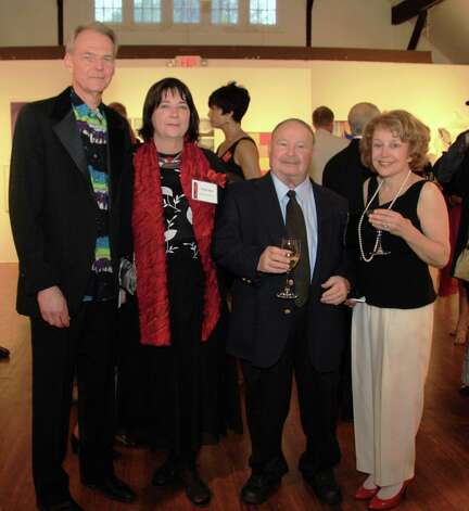 Executive Director of the Silvermine Arts Center, Leslee Asch, second from left with husband Will Morrison first on left, with Guild Artist and Board member Don Axleroad and Erica Weingast of Stamford at the Silvermine 90th Anniversary Gala May 5 in New Canaan Conn. Photo: Contributed Photo