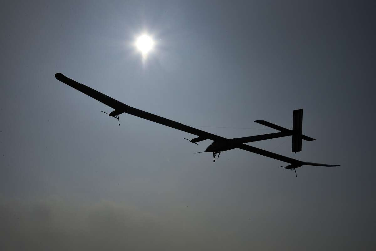 The Swiss sun-powered aircraft Solar Impulse flies on Thursday in Payerne on its first attempted intercontinental flight from Switzerland to Morocco. Solar Impulse, piloted by Andre Borschberg, is expected to land in Madrid for a stopover before heading to Morocco without using a drop of fuel. Bertrand Piccard will pilot the second leg on to Rabat, scheduled to leave Madrid on Monday at the earliest. (FABRICE COFFRINI/AFP/GettyImages)