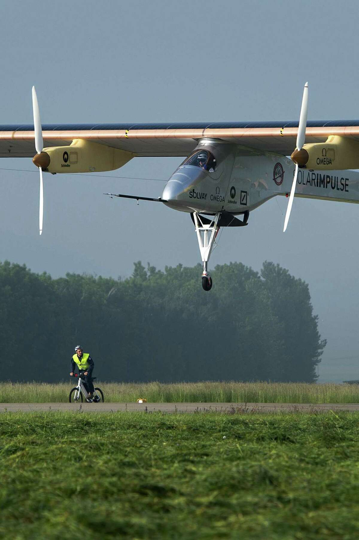 The Swiss sun-powered aircraft Solar Impulse takes off on May 24, 2012 in Payerne on its first attempted intercontinental flight from Switzerland to Morocco. Solar Impulse, piloted by Andre Borschberg, is expected to land in Madrid for a stopover before heading to Morocco without using a drop of fuel. Bertrand Piccard will pilot the second leg on to Rabat, scheduled to leave Madrid on May 28 at the earliest. AFP PHOTO / FABRICE COFFRINIFABRICE COFFRINI/AFP/GettyImages