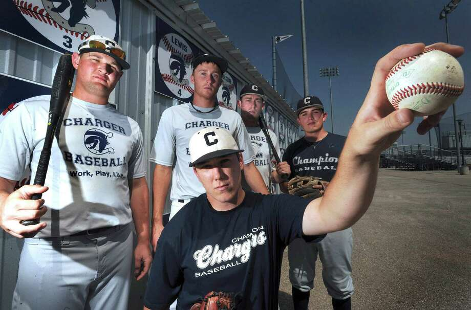 Bryce Dorn (front) and Boerne Champion teammates (from left) Trevor Harlos, Luke Strieber, Josh Holcomb and Zach Long. Photo: Billy Calzada, San Antonio Express-News / © 2012 San Antonio Express-News