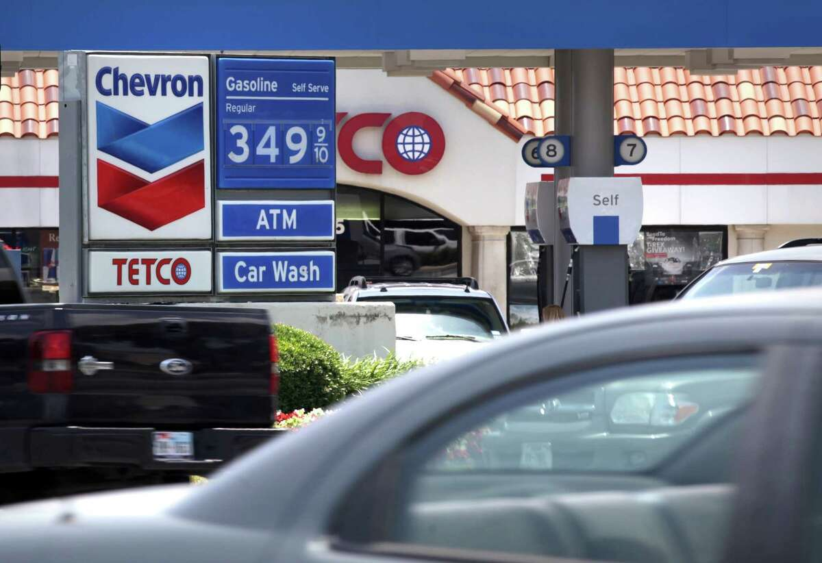 In this file photo, gas prices going into the Labor Day holiday weekend are 3.49/gal., as is the case at the Chevron at Stone Oak Parkway and Huebner Rd. Wed, May 23, 2012.