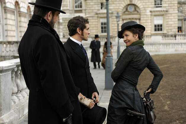 "Left to Right: Rupert Everett as Edmund St. John-Smythe, Hugh Dancy as Mortimer Granville and Maggie Gyllenhaal as Charlotte Dalrymple in, ""Hysteria."" Photo: Liam Daniel, Courtesy Of Sony Pictures Classi"